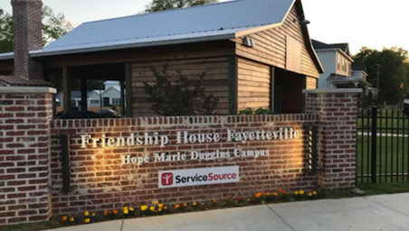 Friendship House Fayetteville brick sign